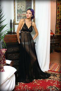 Black Lace Lingerie Nightgown Spun Mesh Gossamer Collection Sleepwear Bridal Wedding Sarafina Dreams