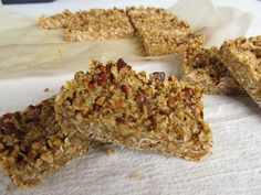 Maple Pecan Bars      2 cups pecans, toasted and chopped     1/2 cup almond meal/flour     1 cup rolled oats (Bob Mills has a gluten free brand)     1/2 tsp salt     1/4 cup almond butter     1/2 cup coconut oil     1/4 cup maple syrup     2 tsp vanilla