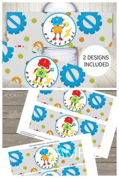 Adorable robot party water bottle labels. These robot printables are perfect for kids to enjoy at birthday parties. They can also be used for baby showers. These robot water labels are an instant download which means you can set them up for your party as soon as you need. Check out the other robot printables in the party set. Printable Water Bottle Labels, Double Sided Sticky Tape, Party Themes For Boys, Water Party, 3 Kids, Printable Designs, Boy Birthday Parties, For Your Party, Party Printables