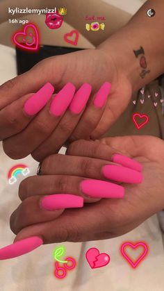 In seek out some nail designs and ideas for your nails? Here is our list of 36 must-try coffin acrylic nails for trendy women. Hot Pink Nails, Pink Acrylic Nails, Acrylic Nail Designs, Love Nails, How To Do Nails, Nail Art Designs, Gorgeous Nails, Pretty Nails, Spring Nails