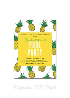 Housewarming Pool Party Invitation - Pineapple Party by PaperieOffPark #pineappleparty #hawaiianluau #pineappleinvitation