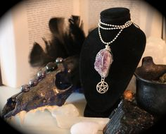 Amethyst Druzy Wire Wrapped Pentacle Necklace by MagickAndMacabre