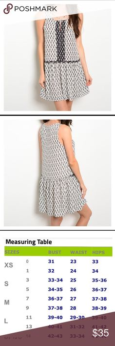 Cute & Comfy Summer Dress Black  & White Print Dress, loose fitting, very comfortable   Drop Waist  100% Polyester *** see size chart photo for sizing Beach Wave Dresses
