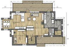 Alakerrassa paljon yhtenäistä tilaa, makuuhuoneet yläkerrassa omassa rauhassa. House Plans, Floor Plans, Dreams, Flooring, How To Plan, Home Decor, Decoration Home, Room Decor, Wood Flooring
