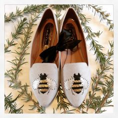 * Bumbly bee shoes for busy buzzy bees* Customised dove grey faux suede shoes* Leather hand stitched bumble bee appliqué* Metallic gold stripes and silvery wings