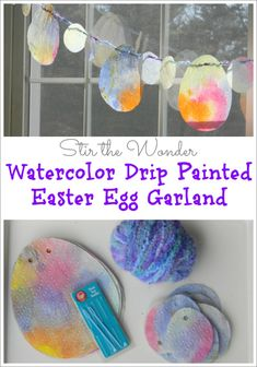 Watercolor Drip Painted Easter Egg Garland is a great kids activity for fine motor skills and is a pretty Springtime decoration! | Fine Motor Fridays at Stir the Wonder