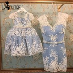 Online Shop Latest Design Lace Appliques V-neck Sheath Pearls Sash Dusty Blue Mother and Daughter Evening Prom Dresses Mother Daughter Outfits, Mommy And Me Outfits, Little Girl Outfits, Little Girl Fashion, Kids Outfits, Baby Girl Dresses, Baby Dress, Flower Girl Dresses, Prom Dresses