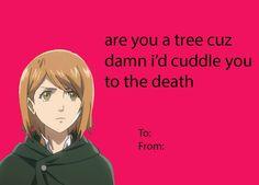 Attack on titan Valentines day card Meme Valentines Cards, Valentines Anime, Fb Memes, Funny Memes, Anime Pick Up Lines, Doki Doki Anime, Levi X Eren, Instagram And Snapchat, Attack On Titan Anime