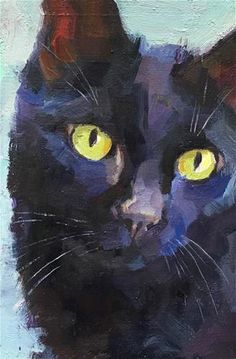 Daily Paintworks - New Original Fine Art Daily Paintings; Oils, Acrylics, Watercolors, and more from a growing group of Daily Painters Black Cat Painting, Black Cat Art, Black Cats, Watercolor Cat, Watercolor Animals, Guache, Cat Drawing, Animal Paintings, Beautiful Cats