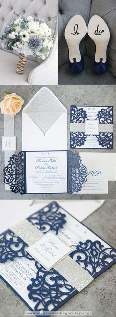 Fabulous Navy Blue Laser Cut Wedding Invitations with Silver Glitter Belly Band and Tag EWWS198