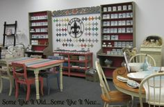 Chalk Paint® decorative paint by Annie Sloan display area.  All colors, accessories and complimentary products.
