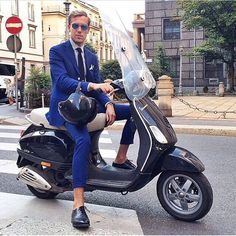 If you choose to ride a #Vespa, make sure you do it in style! #mensfashion #streetstyle #menswear #tailoring #suit #style