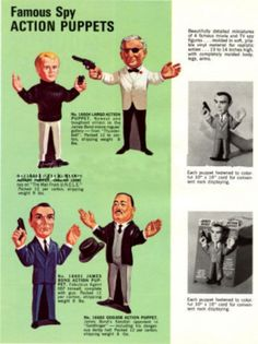 1965 ad for Spy Guys hand puppets by Gilbert Illya from Man From UNCLE, and James Bond series