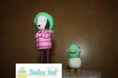Muñecos modelados en masa de goma. Sarah y Pato.