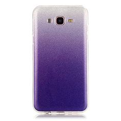 Moonmini Gradient Color Sparkling Glitter Ultra Slim Fit Soft TPU Phone Back Case Cover for Samsung Galaxy J7 2015  Purple >>> Read more  at the image link.