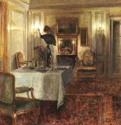 Evening Interior ~ Carl Vilhelm Holsøe ~ (Danish: 1863-1935)
