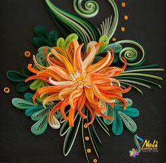 neli: Quilling picture - orange flower