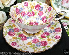 ROYAL STAFFORD TEA CUP AND SAUCER JUNE ROSES CHINTZ TEACUP