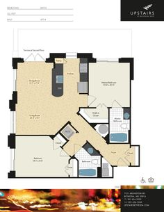 Two bedroom, two bath, 961 square feet.