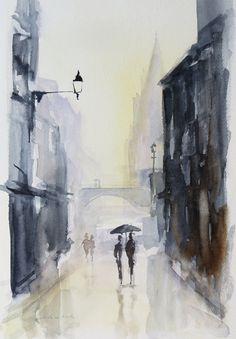 Andrea Cook - stad in de regen aquarel city in the rain watercolour