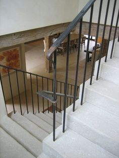 Stone stairs with forged iron railings Metal Stair Railing, Staircase Railings, Staircase Design, Stairways, White Staircase, Bannister, Entry Stairs, House Stairs, Iron Balusters