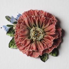 Cynthia Emerlye, Vermont artist and kirigami papercutter: More Pretty Hat & Coat Ornaments Ribbon Art, Fabric Ribbon, Ribbon Crafts, Flower Crafts, Flower Art, Shabby Flowers, Felt Flowers, Fabric Flowers, Boho Flowers