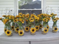 Mason jars sunflowers makes great wedding centerpieces did this for my daughter kristina s wedding june 2012 bigweddingsideasmasonjars Sunflower Birthday Parties, Sunflower Party, Sunflower Baby Showers, Trendy Wedding, Fall Wedding, Rustic Wedding, Our Wedding, Dream Wedding, Wedding Ideas