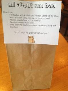 All About Me Bag: great idea for the start of a new a school year!