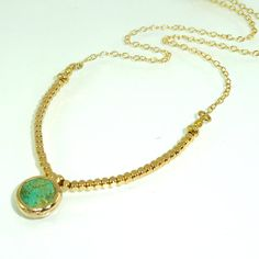 Green Turquoise & Gold Nuggets Necklace, Organic Shape Gemstones Necklace Minimalist Layering Gold Necklace, Turquoise Pendent.     A beautiful Gold