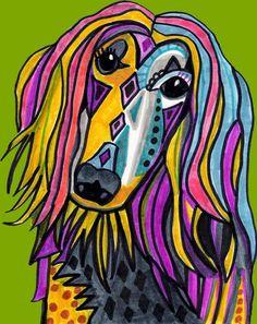 PRINT Afghan Dog Pet Christmas Gift Art Poster Painting