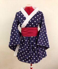 Einfache Kimono Kleid in Marine und weißen von skycreation auf Etsy