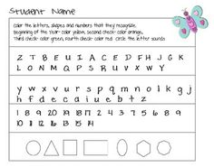 """FREE LESSON - """"Assessment Freebie Shapes, Letters, Numbers, Sounds"""" - Go to The Best of Teacher Entrepreneurs for this and hundreds of free lessons.  PreKindergarten - Kindergarten  #FreeLesson  http://www.thebestofteacherentrepreneurs.net/2014/12/free-misc-lesson-assessment-freebie.html"""