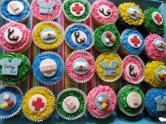 Nurse Theme Cupcakes - totally making these! Nurse Cupcakes, Themed Cupcakes, Mini Cupcakes, Cupcake Cakes, National Nurses Week, School Cake, Nurse Love, Fondant Toppers, Retirement Parties