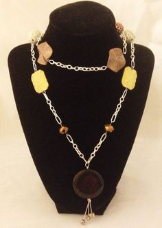 Large Multi Color Bead & Silver Chain Necklace. Buy directly from Etsy and type in the coupon code PINTREST and get 10% off your purchase.