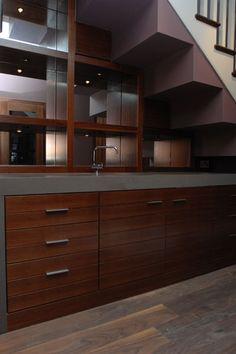 Bar - built under stairs, walnut & silestone