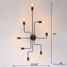 Industrial Edison Bulb Wrought Iron 8 Light Large Semi Flush Ceiling Light in Black - Beautifulhalo.com