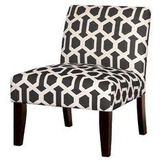 $127.49 Avington Upholstered Slipper Chair - Charcoal/White Trellis