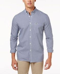 49843f9cb5d Lacoste Men s Gingham Pop Shirt - Blue XL 2XL Casual Button Down Shirts