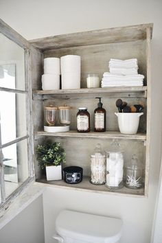DIY Bathroom Cabinet - DIY antique window cabinet- See how to make this super easy antique window cabinet. Great for bathr - : DIY Bathroom Cabinet - DIY antique window cabinet- See how to make this super easy antique window cabinet. Muebles Shabby Chic, Shabby Chic Decor, Rustic Decor, Antique Decor, Rustic Chic, Modern Rustic, Antique Interior, Rustic Style, Antique Bathroom Decor