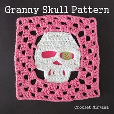 The (free!) crochet skull granny square pattern. Now you can turn the motif into an 8 inch square! Mix and match your favorite skulls with traditional granny squares and create a ghoulishly grand afghan! Happy Halloween!!