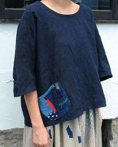 Antique linen indigo long shirt-jacket with Chinese buttons/balloon sleeves/French linen/antique fabric/handmade/dark indigo/Asian Boro, Boho Fashion, Fashion Design, Linen Dresses, Shirts & Tops, Sewing Clothes, Shirt Jacket, Refashion, Dress Making