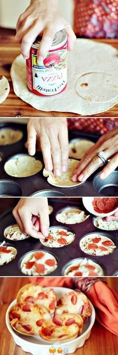 After school snacks Mini Tortilla Crust Pizzas -- super easy to make, can use different ingredients (including low carb tortillas, load up with veggies), great idea! Muffin Tin Recipes, Snack Recipes, Cooking Recipes, Muffin Tins, Easy Cooking, Healthy Cooking, Brunch Recipes, Muffin Tin Pizza, Cooking Tips