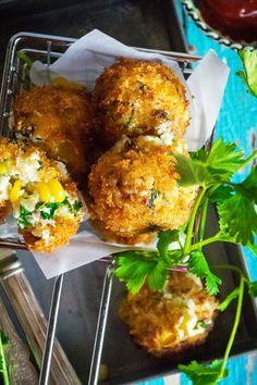 Paneer cheese corn balls. 17 Small Bites for Your Next Summer Soirée #purewow #cooking #food #recipe #entertaining #summer #party #appetizer #smallbites #easyappetizers #fingerfoods #apps #summerparties #partyfood #summerrecipes