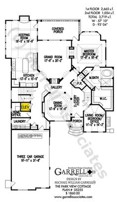 Park View Cottage House Plan 05255, 1st Floor Plan, Craftsman Style House Plans, Courtyard Style House Plans