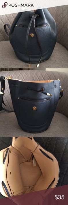 Talbots Women's Bucket Purse Beautiful, Unique Navy Blue Bucket Purse Pebbled Leather Exterior  Snap pocket in front Talbots Bags Shoulder Bags