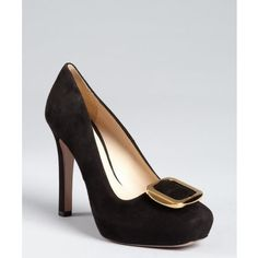 Prada Black Suede Buckle Detailed Platform Pumps ($572) ❤ liked on Polyvore
