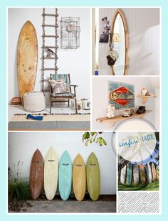 d co murale planche de surf en bois multicolore 45 x 90 cm surfing d co pinterest surf. Black Bedroom Furniture Sets. Home Design Ideas