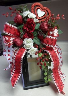 """""""FROM THE HEART"""" -  Decorative Valentine's Day Swag/Bow by DecorClassicFlorals, $34.95"""