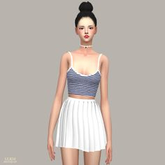 /SIMS4 CC/   /Please refer to the notice on the bottom (TOU)/     크롭 민소매입니다.                        download links are via the 'shorte.st...