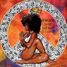 Black Is Beautiful Black Love Art, Black Girl Art, My Black Is Beautiful, Black Girl Magic, Art Girl, African American Art, African Art, African American Tattoos, Yoga Kunst